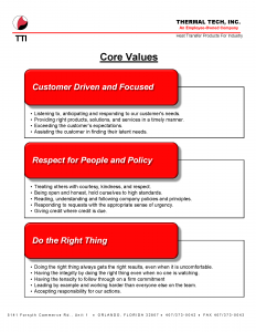 Thermal Tech Core Values