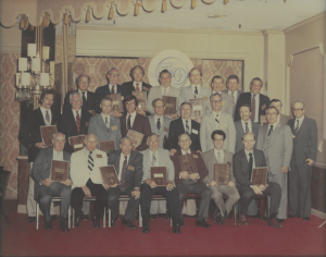 Old group picture of Don & Hugh at CB 50 yr anniversary 1979